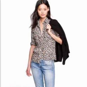 J Crew Perfect Shirt in Leopard Size 4